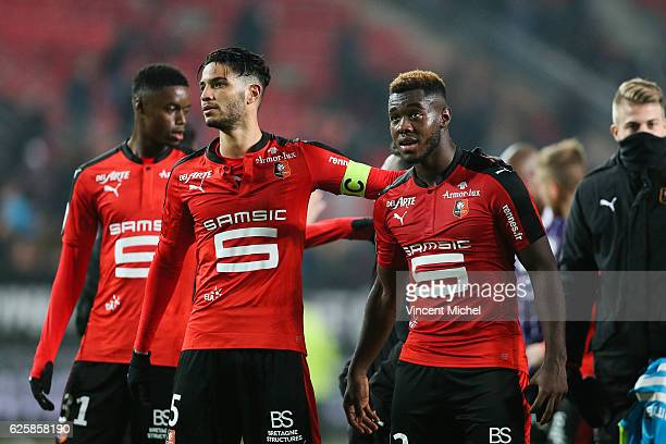 Pedro Mendes of Rennes and Joris Gnagnon of Rennes during the French Ligue 1 match between Rennes and Toulouse at Roazhon Park on November 25, 2016...