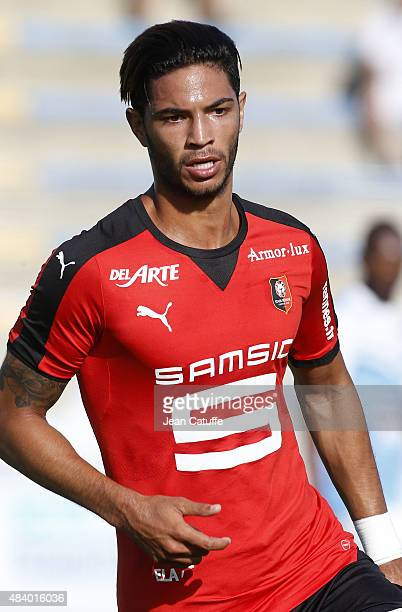 Pedro Mendes of Rennes in action during the friendly match between Stade Rennais and Stade Brestois at Stade FredAubert on July 11 2015 in Saint...