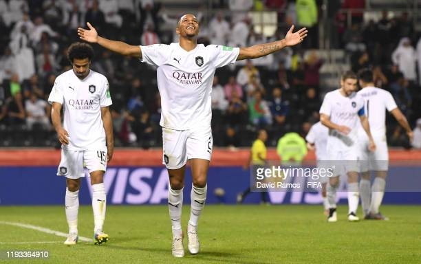 Pedro Miguel of AlSadd Sports Club celebrates after scoring his team's third goal during the FIFA Club World Cup Qatar 2019 match between AlSadd...