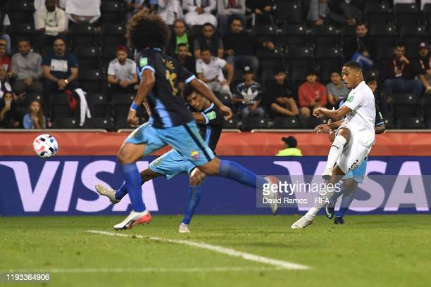 Pedro Miguel of AlSadd Sports Club scores his team's third goal during the FIFA Club World Cup Qatar 2019 match between AlSadd Sports Club and...