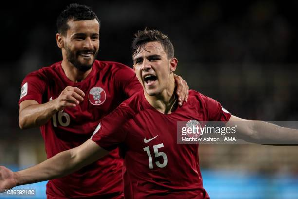 Pedro Miguel of Qatar celebrates after scoring a goal to make it 10 during the AFC Asian Cup round of 16 match between Qatar and Iraq at Al Nahyan...