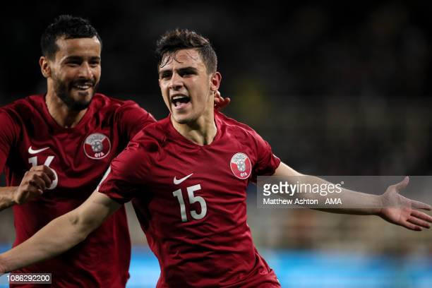 Pedro Miguel of Qatar celebrates after scoring a goal to make it 1-0 during the AFC Asian Cup round of 16 match between Qatar and Iraq at Al Nahyan...