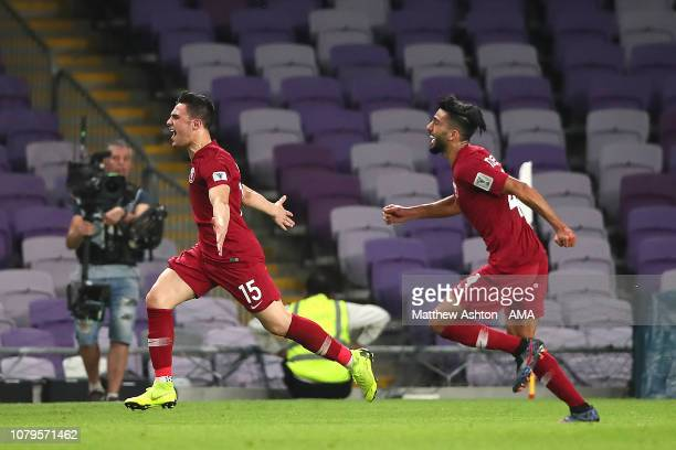 Pedro Miguel of Qatar celebrates scoring a goal to make it 10 during the AFC Asian Cup Group E match between Qatar and Lebanon at Hazza Bin Zayed...