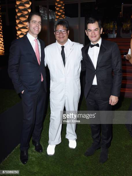 Pedro Moto and PierreOlivier Garcin of RollsRoyce Motor Cars with Kulapat Yantrasast of wHY architects attend the 2017 LACMA Art Film Gala Honoring...