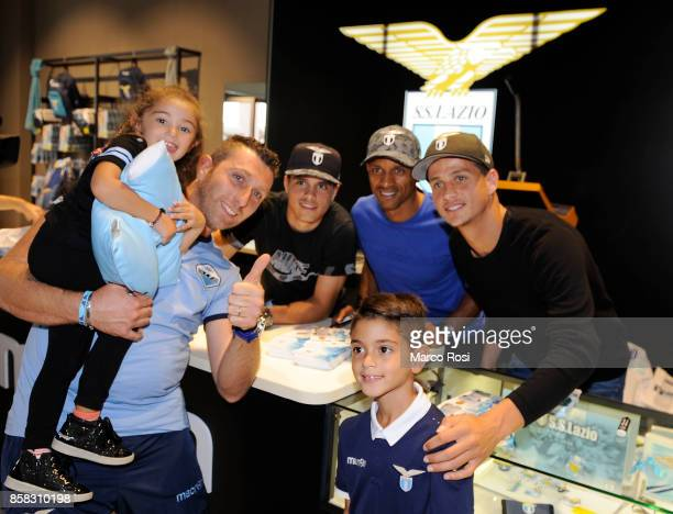 Pedro Neto Nani and Luiz Felipe of SS Lazio during the SS Lazio players visit to the club's store on October 6 2017 in Rome Italy