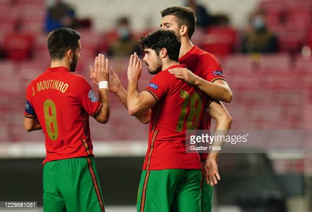 Pedro Neto of Portugal and Wolverhampton celebrates with teammates after scoring a goal during the International Friendly match between Portugal and...