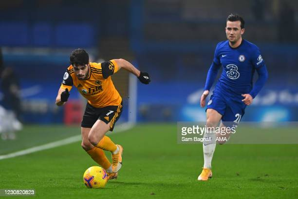 Pedro Neto of Wolverhampton Wanderers and Ben Chilwell of Chelsea during the Premier League match between Chelsea and Wolverhampton Wanderers at...