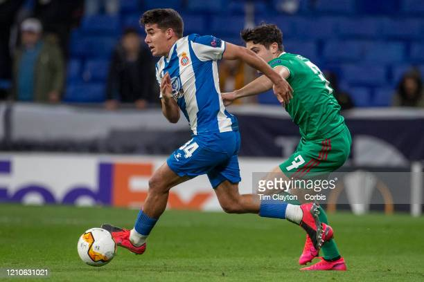Pedro Neto of Wolverhampton Wanderers and Víctor Gomez of Espanyol challenge for the ball during the Espanyol V Wolverhampton Wanderers UEFA Europa...