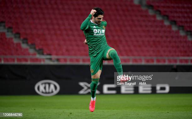 Pedro Neto of Wolverhampton Wanderers celebrates after scoring a goal to make it 11 during the UEFA Europa League round of 16 first leg match between...