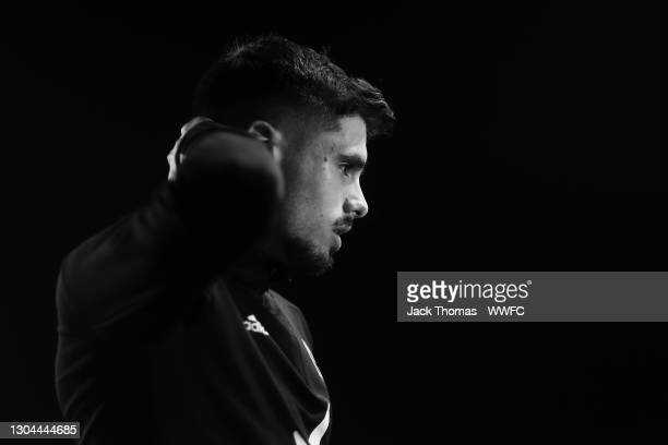 Pedro Neto of Wolverhampton Wanderers is interviewed on the pitch following the Premier League match between Newcastle United and Wolverhampton...
