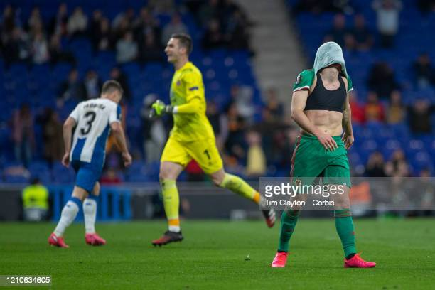 Pedro Neto of Wolverhampton Wanderers reacts after shooting wide of an open goal during the Espanyol V Wolverhampton Wanderers UEFA Europa League...