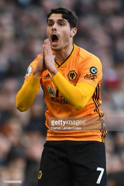 Pedro Neto of Wolverhampton Wanderers reacts during the Premier League match between Tottenham Hotspur and Wolverhampton Wanderers at Tottenham...