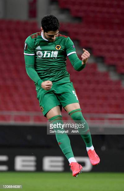 Pedro Neto of Wolverhampton Wanderers scores a goal to make it 11 during the UEFA Europa League round of 16 first leg match between Olympiacos FC and...