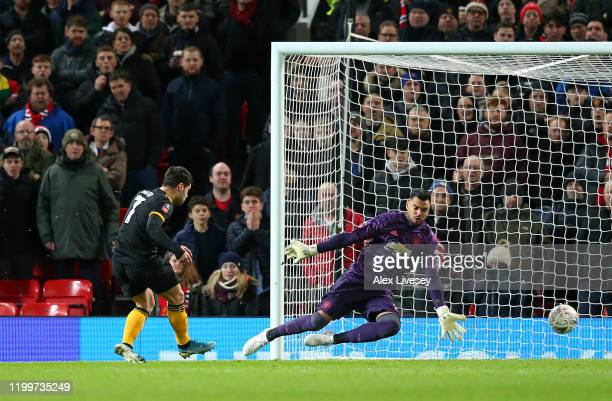Pedro Neto of Wolverhampton Wanderers scores his team's first goal which is later ruled out by VAR during the FA Cup Third Round Replay match between...