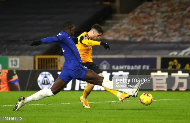 Pedro Neto of Wolverhampton Wanderers scores their team's second goal during the Premier League match between Wolverhampton Wanderers and Chelsea at...