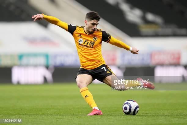 Pedro Neto of Wolverhampton Wanderers shoots during the Premier League match between Newcastle United and Wolverhampton Wanderers at St. James Park...