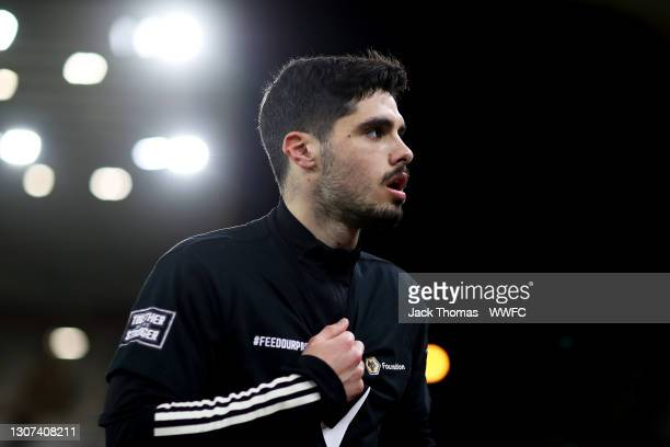 Pedro Neto of Wolverhampton Wanderers walks off the pitch ahead of the Premier League match between Wolverhampton Wanderers and Liverpool at Molineux...
