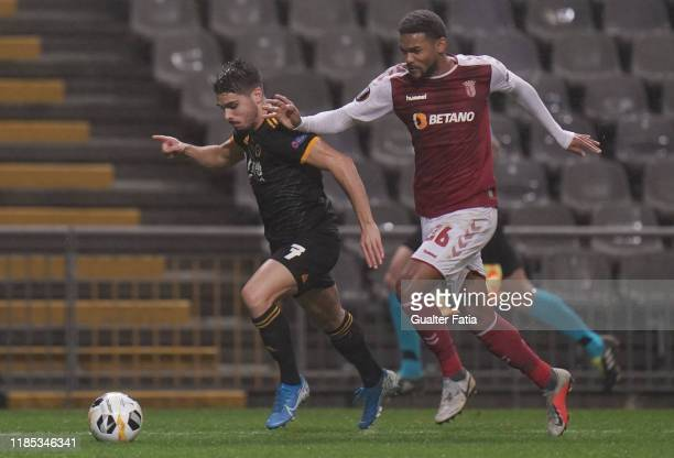 Pedro Neto of Wolverhampton Wanderers with Bruno Viana of SC Braga in action during the Group K UEFA Europa League match between SC Braga and...