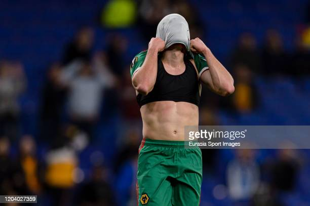 Pedro Neto of Wolves reacts during the UEFA Europa League round of 32 second leg match between Espanyol Barcelona and Wolverhampton Wanderers at...