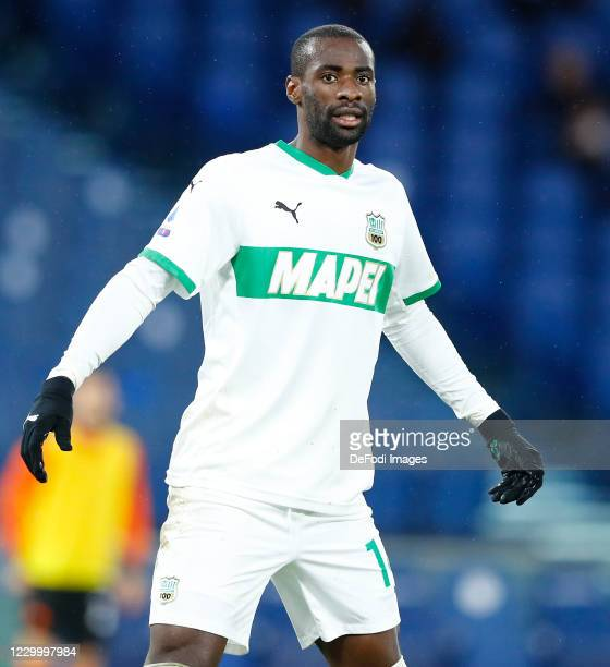 Pedro Obiang of Sasssuolo gestures during the Serie A match between AS Roma and US Sassuolo at Stadio Olimpico on December 6, 2020 in Rome, Italy.
