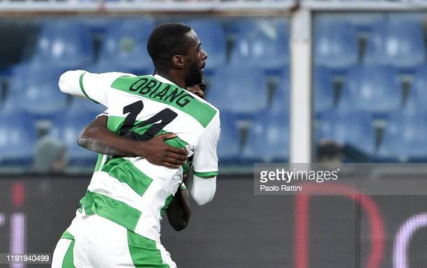 Pedro Obiang of US Sassuolo celebrates after scoring the 1-1 goal during the Serie A match between Genoa CFC and US Sassuolo at Stadio Luigi Ferraris...