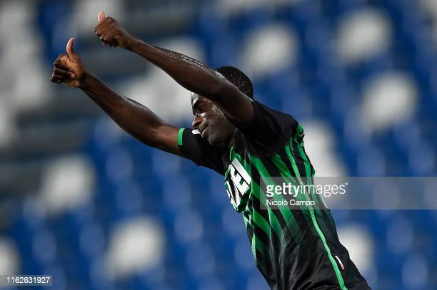 Pedro Obiang of US Sassuolo gestures during the Coppa Italia football match between US Sassuolo and Spezia Calcio. US Sassuolo won 1-0 over Spezia...