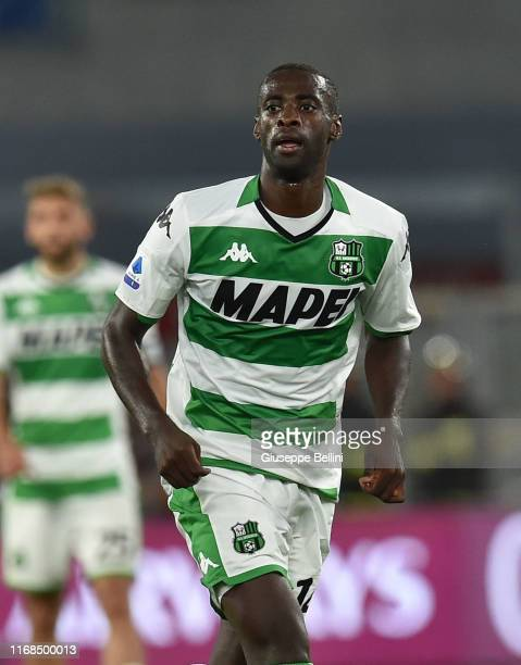 Pedro Obiang of US Sassuolo in action during the Serie A match between AS Roma and US Sassuolo at Stadio Olimpico on September 15, 2019 in Rome,...
