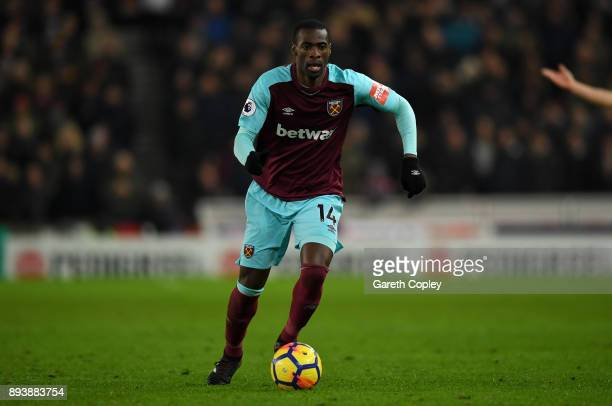 Pedro Obiang of West Ham during the Premier League match between Stoke City and West Ham United at Bet365 Stadium on December 16 2017 in Stoke on...