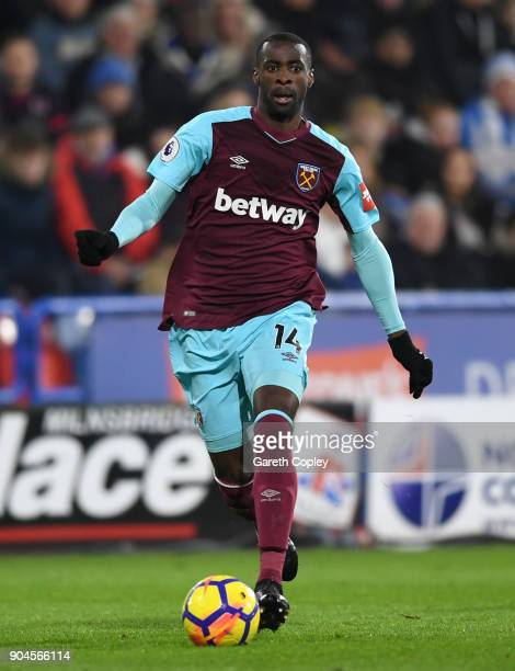 Pedro Obiang of West Ham during the Premier League match between Huddersfield Town and West Ham United at John Smith's Stadium on January 13 2018 in...