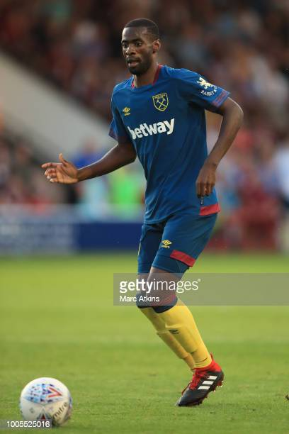 Pedro Obiang of West Ham during the Pre-Season Friendly between Aston Villa v West Ham United at Banks' Stadium on July 25, 2018 in Walsall, England.