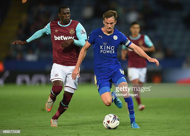 Pedro Obiang of West Ham in action with Andy King of Leicester during the Capital One Cup Third Round match between Leicester City and West Ham...