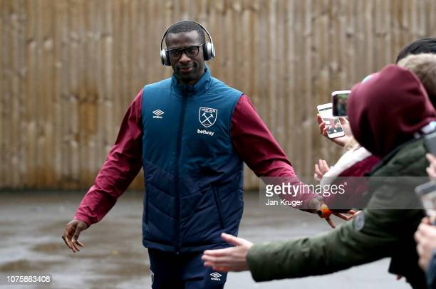 Pedro Obiang of West Ham United arrives at the stadium prior to the Premier League match between Burnley FC and West Ham United at Turf Moor on...