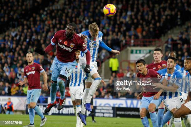 Pedro Obiang of West Ham United attempts a header during the Premier League match between Huddersfield Town and West Ham United at John Smith's...