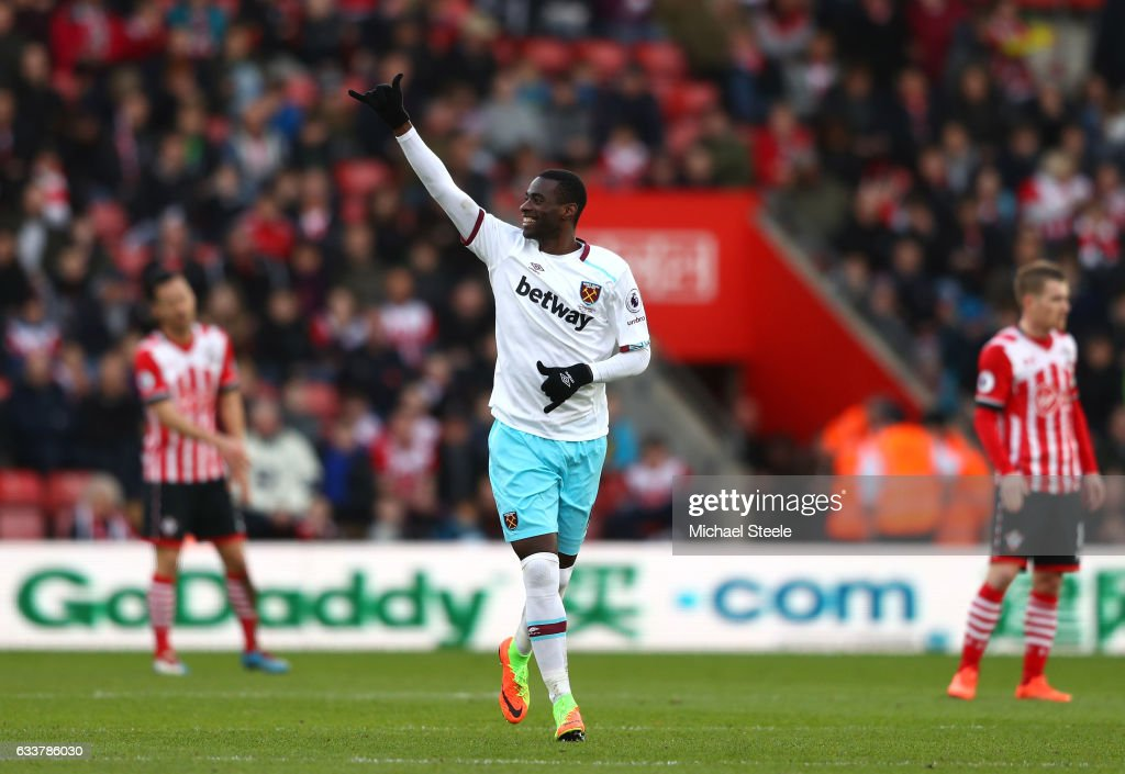 Pedro Obiang of West Ham United celebrates scoring his sides second goal during the Premier League match between Southampton and West Ham United at St Mary's Stadium on February 4, 2017 in Southampton, England.