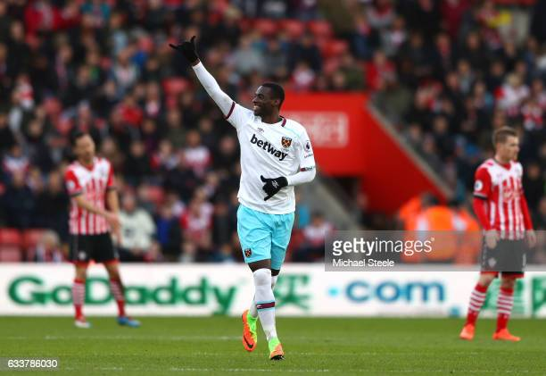 Pedro Obiang of West Ham United celebrates scoring his sides second goal during the Premier League match between Southampton and West Ham United at...