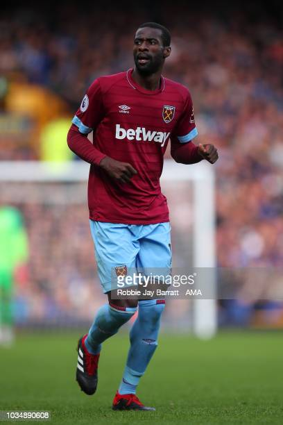Pedro Obiang of West Ham United during the Premier League match between Everton FC and West Ham United at Goodison Park on September 16, 2018 in...