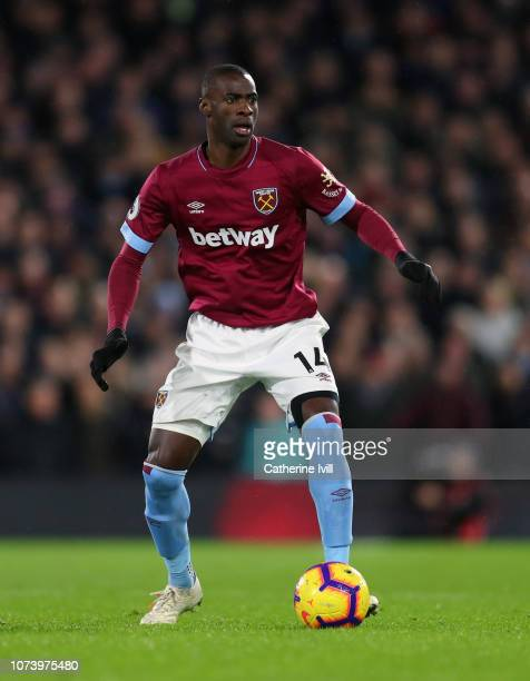 Pedro Obiang of West Ham United during the Premier League match between Fulham FC and West Ham United at Craven Cottage on December 15, 2018 in...