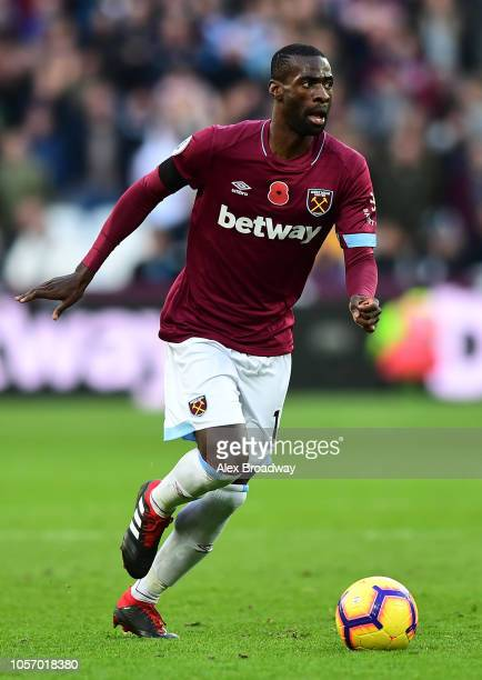 Pedro Obiang of West Ham United in action during the Premier League match between West Ham United and Burnley FC at London Stadium on November 3,...