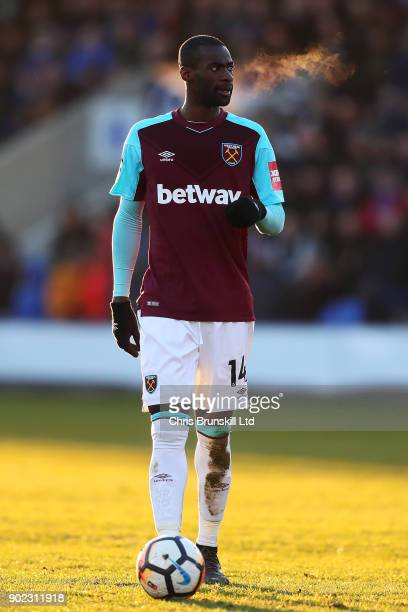 Pedro Obiang of West Ham United looks on during The Emirates FA Cup Third Round match between Shrewsbury Town and West Ham United at Montgomery...