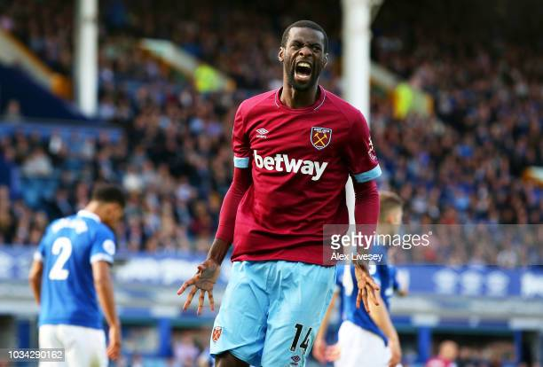 Pedro Obiang of West Ham United reacts during the Premier League match between Everton FC and West Ham United at Goodison Park on September 16, 2018...