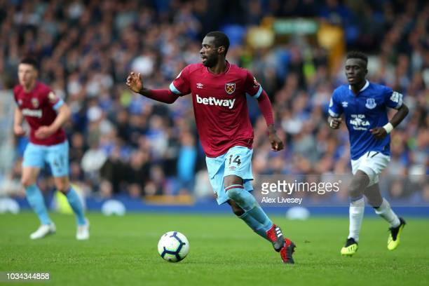 Pedro Obiang of West Ham United runs with the ball during the Premier League match between Everton FC and West Ham United at Goodison Park on...