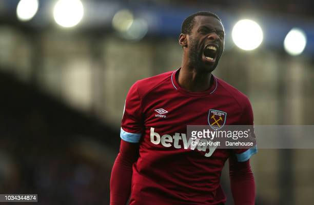 Pedro Obiang of West Ham United screams after missing a shot at goal during the Premier League match between Everton FC and West Ham United at...