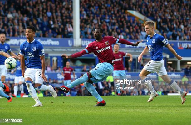 Pedro Obiang of West Ham United shoots during the Premier League match between Everton FC and West Ham United at Goodison Park on September 16 2018...