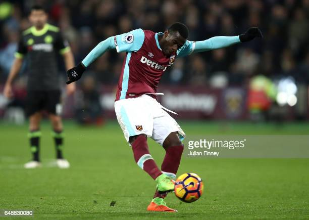 Pedro Obiang of West Ham United shoots on goal during the Premier League match between West Ham United and Chelsea at London Stadium on March 6 2017...