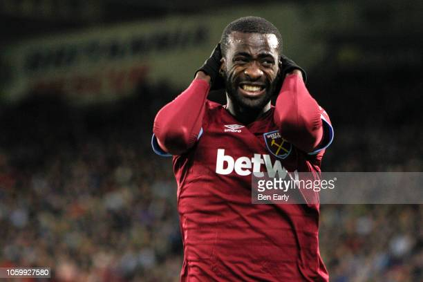 Pedro Obiang of West Ham United shows his frustration after missing his header during the Premier League match between Huddersfield Town and West Ham...