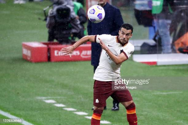 Pedro of AS Roma controls the ball during the Serie A match between AC Milan and AS Roma at Stadio Giuseppe Meazza on October 26 2020 in Milan Italy
