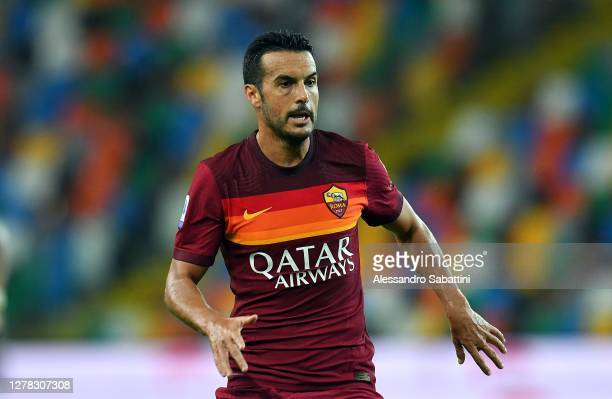 Pedro of AS Roma looks on during the Serie A match between Udinese Calcio and AS Roma at Dacia Arena on October 03, 2020 in Udine, Italy.