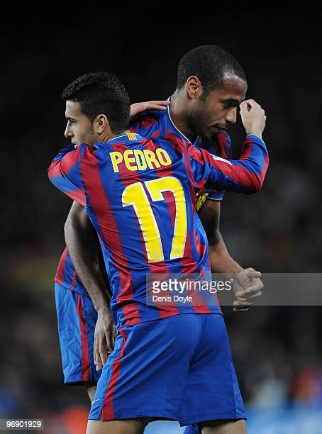 Pedro of Barcelona comes on for Thierry Henry during the La Liga match between Barcelona and Racing Santander at Camp Nou stadium on February 20 2010...