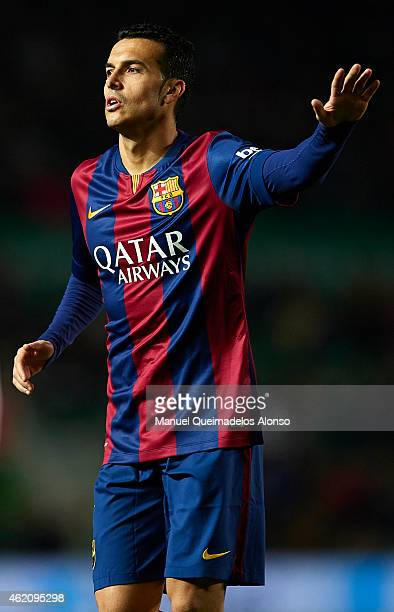 Pedro of Barcelona reacts during the La Liga match between Elche FC and FC Barcelona at Estadio Manuel Martinez Valero on January 24 2015 in Elche...