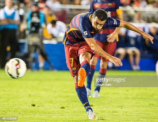 Pedro of Barcelona takes a shot on goal during the International Champions Cup 2015 match between FC Barcelona and Los Angeles Galaxy at the Rose...